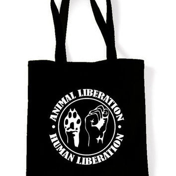 Vegetarian Animal Liberation Tote Shopping Bag