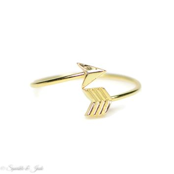 Dainty Yellow Gold Plated Sterling Silver Wrapped Arrow Ring