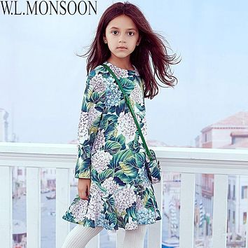 W.L.MONSOON Girls Dress Long Sleeve 2017 Brand Christmas Dress Princess Costume for Kids Clothes Flower Children Winter Dresses