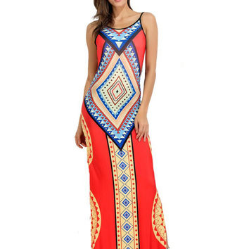 Folk Style Print Backless Cami Slit Hem Maxi Dress For Women