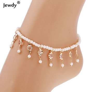 New Vintage Fashion Imitation Pearl Crystal Anklets For Women Stainless Steel Shoe Boot Chain Bracelet Foot Jewelry 2017