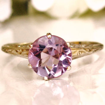 Antique Engagement Ring Regal Crown Setting Rose de France 1.50ct Amethyst Engagement Ring 14K White Gold Filigree Ring Size 7.5