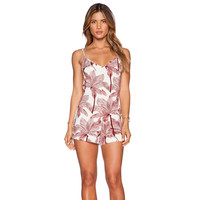 Brown Tropical Strappy V-neck Backless Romper