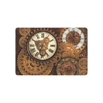 Autumn Fall welcome door mat doormat Rusty Gears and Clocks Anti-slip  Home Decor, Vintage Clock Times Indoor Outdoor Entrance  Rubber Backing AT_76_7