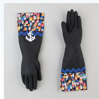 Nautical fancy ladies rubber dish gloves. Free shipping.