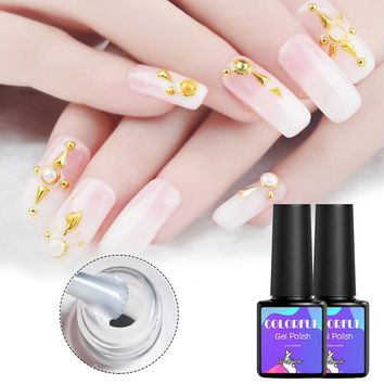 Opal Jelly Nail Gel Polish 8ml Semi-transparent White Varnish Soak Off Manicure Nail Art UV Gel Lacquer DIY Nail Sticker