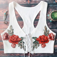 Stylish Hot Summer Beach Bralette Comfortable Sexy Bandages Embroidery Vest [10472194819]