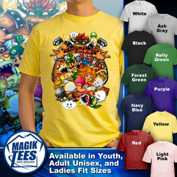 Super Mario Bros vs Bowser Retro Nintendo Video Game Illustration T-Shirt