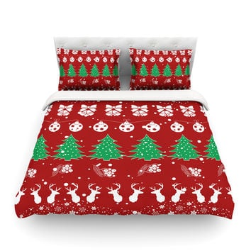 "Famenxt ""Christmas Vibes Red"" Red Green Illustration Featherweight Duvet Cover"