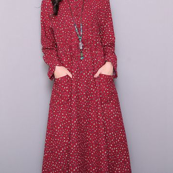Streetstyle  Casual Band Collar Drawstring Patch Pocket Printed Maxi Dress