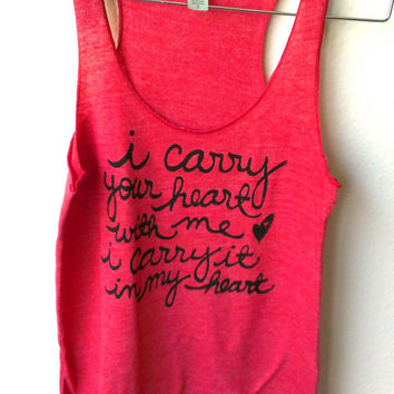 "MADE TO ORDER. Large ""i carry your heart"" Alternative Apparel Racerback Tank in Eco Red"
