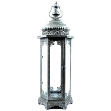 Dark Gray Metal & Glass Lantern | Shop Hobby Lobby