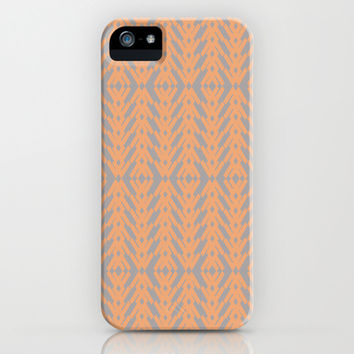 Peach and Gray Tribal Pattern iPhone & iPod Case by Nikki Neri