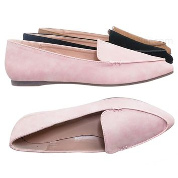 Arrow19 Pointed Toe Flat Loafer - Women Ballet Slippers Slide On Shoes