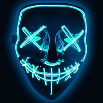 LED Mask Party The Purge Election Year Great Funny Led Light Mask Festival Cosplay Costume Supplies Glow In Dark Halloween Mask