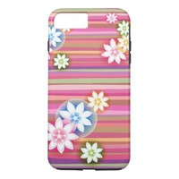 Pink Flowers & Stripes iPhone 7 Plus Case