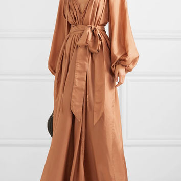 Kalita - Andromeda belted silk-habotai maxi dress