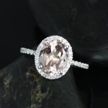 Federella Original Size 14kt White Gold Oval Morganite and Diamonds Halo Engagement Ring (Other metals and stone options available)