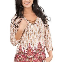 Roper Women's Cream and Red Floral Print with Brown Suede Lace Up Top 3/4 Sleeve Fashion Tunic Top