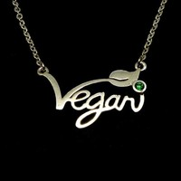 Silver Vegan Necklace Letters Vegan Pendant Vegetarian Choker Vegan Jewelry Gift for Vegetarian People YLQ0531