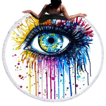 Rainbow Fire by Pixie Cold Art Large Round Beach Towel for WomanTassel Blanket Summer Sunblock Toalla Yoga Mat