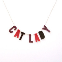 Cat Lady Felt Party Banner in Wine and Mauve