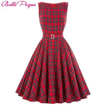 Belle Poque Plaid Pattern Audrey Hepburn Swing Sexy Party Vintage Dresses 50s 60s Summer Dress 2017 Rockabilly Women Clothing