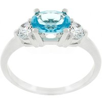 Oval Triple Stone Ring with Center Solitaire CZ CHOOSE YOUR COLOR -NWOT