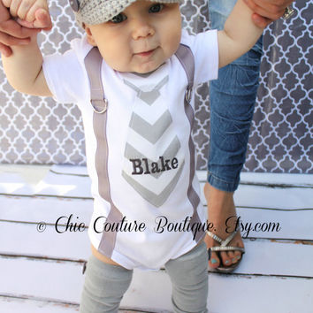 Suspenders and Tie Baby Boy One Piece Bodysuit Long Sleeve or Short Personalized Gray Chevron OR Make Your Own. Valentine's Easter Burgundy