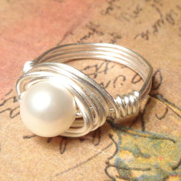 Pearl Ring, Pearl Wire Wrapped Jewelry Handmade, Ring Size 4 5 6 7 8 9 10 11 12 13 14, Pearl Wire Ring, Gift Ideas for Her, Silver Wire Ring