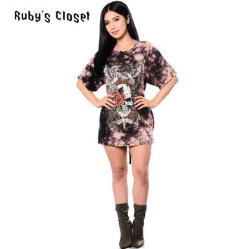 Skull and rose printing fashion women mini dress short sleeve O neck ladies casual wear