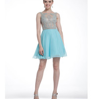 Aqua & Nude Illusion Beaded Short Chiffon Dress  2015 Homecoming Dresses