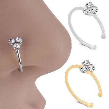 ac DCCKO2Q Hot Stainless Steel Nose Ring Body Jewelry punk Piercing Crystal Rhinestone Nose Ring Ball Ring Hoops Piercing Bone Stud Jewelry
