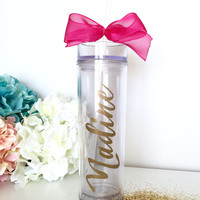Skinny Monogram Water Bottle, Personalized Gift Tumbler, Custom Waterbottle, Travel Water Bottle Straw, Bridesmaid Water bottle,