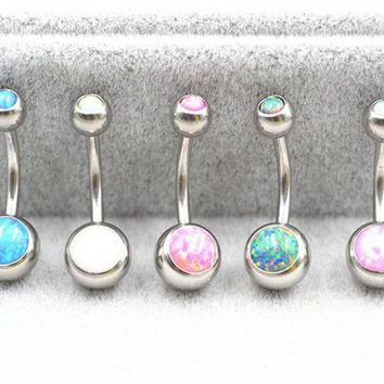 ac DCCKO2Q 10pcs Opal Stone Navel Belly Button Rings Sexy Woman Belly Piercing Barbell Surgical Steel Girls Fashion Body Jewelry  NEW