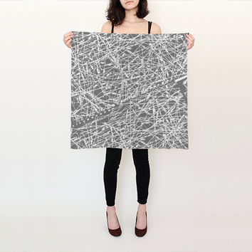 Grey Scarf, Silk Scarf, Printed Scarf, White Scarf, Square, Pink Scarf, Sewing Scarf, Gift for Sewers, Gift for Seamstress, Sewing Gifts
