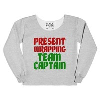 Present Wrapping Team Captain (sweatshirt)-Heather Grey T-Shirt