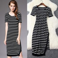 Irregular Black And White Stripes Dress &Party Dress