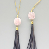 Elegant Rose Quartz & Grey Tassel Necklace