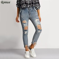 Distressed Skinny Blue Jeans Women Casual Ripped Ankle Denim Pants Fall Fashion Button Fly Cropped Mid Waist Jeans