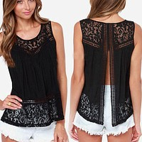 Casual Women Summer Lace Splice Vest Top Sleeveless Plus Size Women Blouses And Shirts Women Tops And tees S-2XL