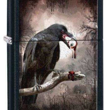 unique Zippo Goth Raven Eyeball Black Matte Cigarette Lighter