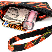 Red Hot: small wristlet purse, small zippered pouch, wristlet clutch, keychain is detachable