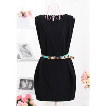 Chic Little Black Dress Belted, Pleated with Pockets