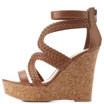 Cognac Braided Strappy Platform Wedges by Charlotte Russe