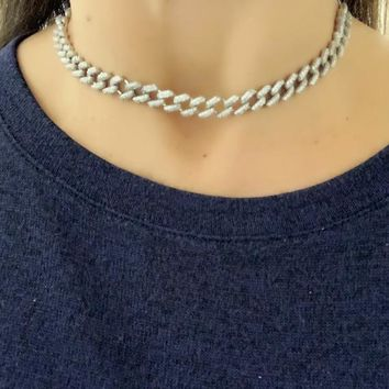 14K Yellow Gold or sterling vermeil ,Sterling Silver Pave Cuban Necklace, Chain Choker Necklace, Adjustable Cuban Chain,Layering Necklace