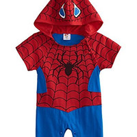 So Sydney Superhero Onesuit Romper for Infant, Baby, Toddler, Boy or Girl (90 (12-18 Months), Spiderman - Red & Black)