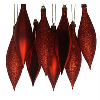 8 Christmas Ornaments - Red Finial