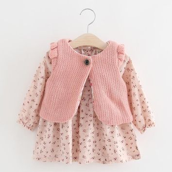 Children Autumn Winter New Dress For Baby Girls Floral Long Sleeve Toddler Kids Dresses Knitted Vest+Mini Dress 2pcs Clothes