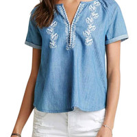 Embroidery V Neck Pleated Denim Blue T-shirt